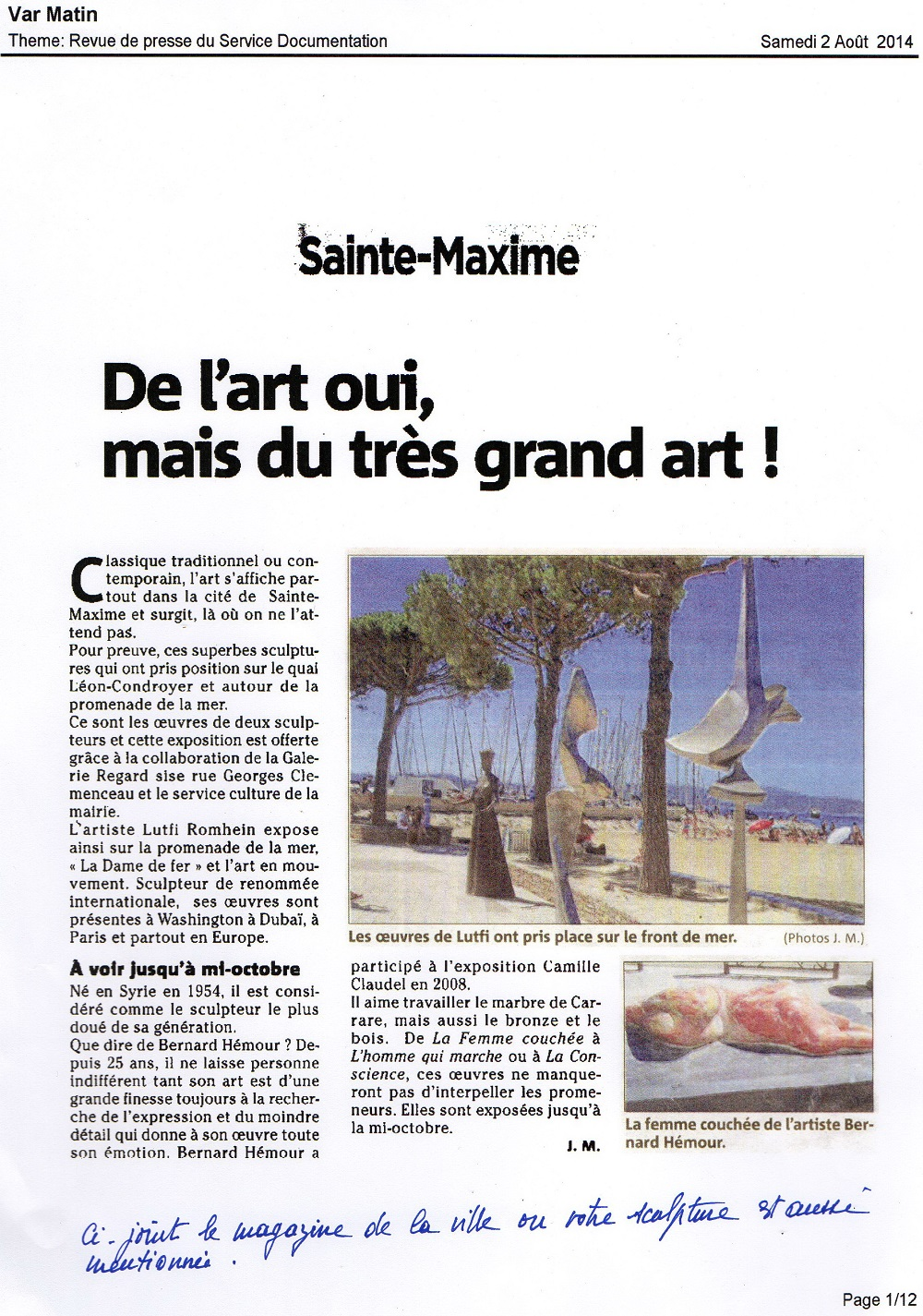 Article de presse Sainte Maxime Var